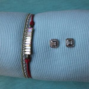Leather Baguette Bracelet + Crystal Stud Earrings
